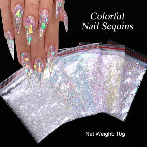1 Bag Nail Art Colorful Flakes Holographics Irregluar Nail Sequins Decoration Design Sticker Symphony bags with sequins