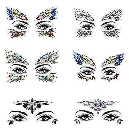 3D Face Crystal Glitter Jewels Tattoo Sticker Women Fashion Face Body Gems Gypsy Festival Adornment Party Beauty Makeup Stickers