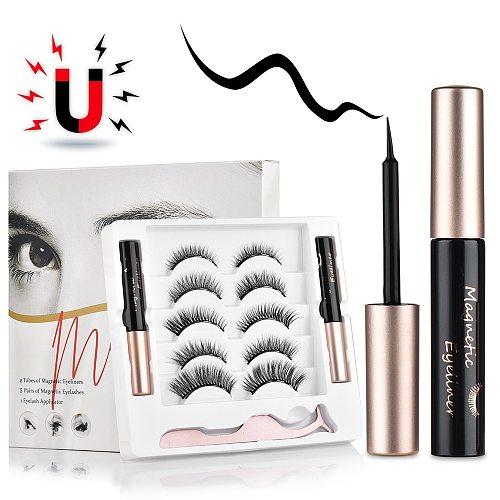 5 pairs Magnetic False Eyelashes Magnet Eyeliner Mink Fake Eyelash Waterproof Liquid Tweezers Set Long Lasting Eyelash Makeup