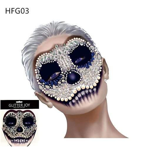 HFG03 1Pc Skull Makeup Inspired Party Face Gem Sticker Body Paint Decor for Halloween Dressing Party Carnival Holiday Gift