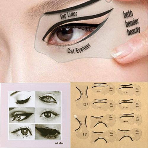 10pcs Eyeliner Template Kit Model for Eyebrows guide template Shaping Maquiagem eye shadow frames card makeup Eye Brow tools