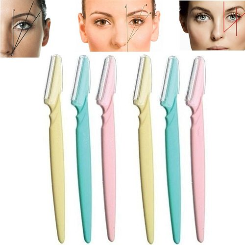 6pcs Eyebrow Knife Women Makeup Facial Tool Eyebrow Lip Razor Trimmer Blade Shaver Knife Beauty Tool Kit