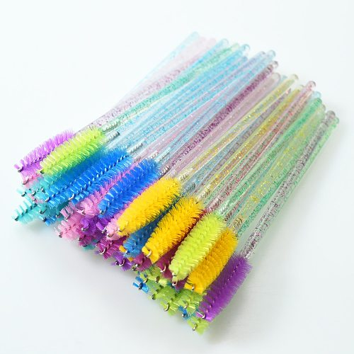 QSTY eyelash brush makeup brushes 50pcs individual disposable mascara applicator comb wand lash makeup brushes tools 6colors