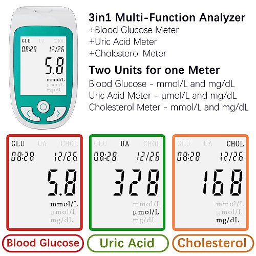 3 in 1 Multi-function Blood glucose monitor Cholesterol Uric acid meter glucometer Diabetes Gout Test Blood sugar Test Strips