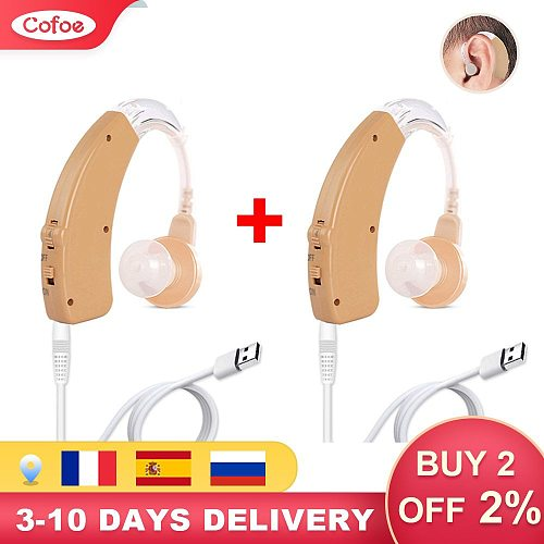 Cofoe Hearing Aid Rechargeable Mini BTE Sound Amplifier for Elderly With Mild to Moderate Deafness Tunable Hearing Aids Device