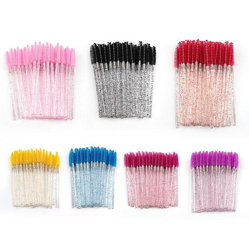 Disposable 5/50 Pcs Eyelash Makeup Brush Diamond Handle Mascara Wands Eyelash Extension Tool Eye Lashes Cosmetic Brushes Set