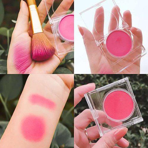 Single Color Blush Makeup Palette Mineral Powder Red Rouge Lasting Natural Cream Cheek Tint Orange Peach Pink Korean Blusher
