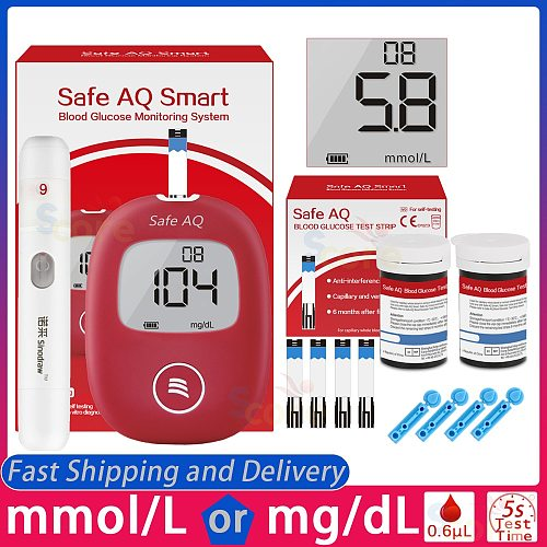 Safe AQ Smart Blood Glucose Meter with Test strips Lancets 5s Test Accurate for Diabetes Glucometer monitor blood sugar meter