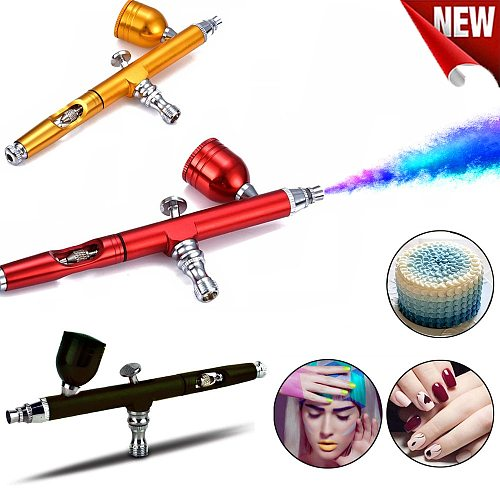 Gravity Feed Dual-Action Airbrush Paint Spray Gun Kit Set  For Makeup Nail Art Design Tattoo Cake Decorating DIY NailArt7cc0.3mm