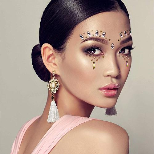 3D Women Face Gems Glitter Rhinestone Rave Festival Jewels Crystals Face Sticker Eyes Face Body Temporary Tattoo Makeup Stickers