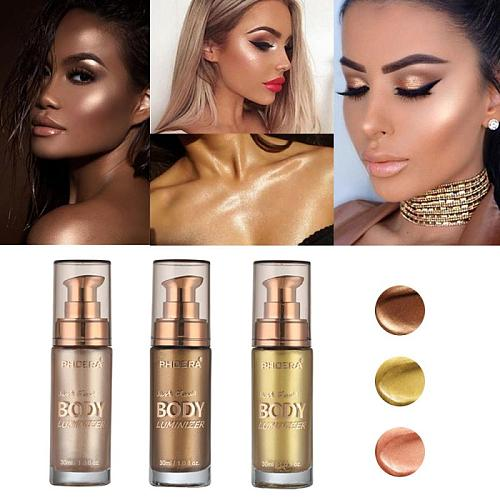PHOERA Shimmer Face Body Liquid Foundation Makeup Bronzers Highlighter Copper Color 30ml Cream Waterproof Concealer Lotion TSLM2