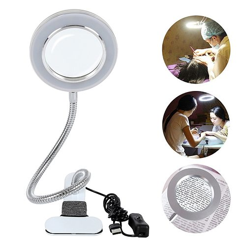 Microblading Tattoo 8X Magnifier Lamp Nail Art USB Cold Light Led Non-slip Equipment Clamp Glass Table Lamp for Beauty Salon