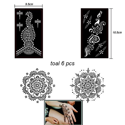 6pcs/Set Henna Tattoo Stencil Mehndi Aribrush Templates for Women Body Paint Indian Tattoo Stickers New Designs Kit 6 Patterns
