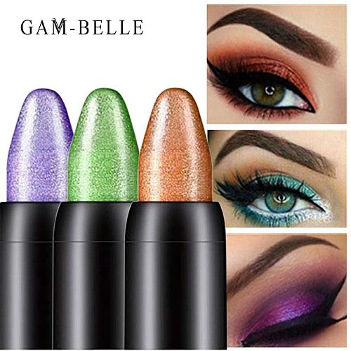 GAM-BELLE 15 Colors Eye Shadow Pen Pearlescent Silkworm Eyeshadow Pencil Easy to Wear Natural Highlighter Pigment Makeup Tool