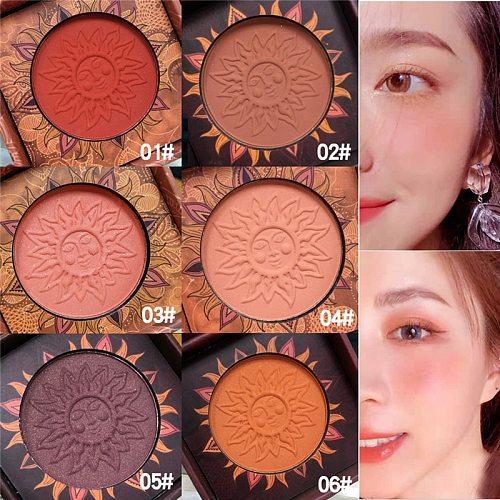 Face Blusher Powder Rouge Makeup Vintage Retro Cheek Blusher Palette Waterproof Long Lasting Natural Facial Blush Powder Contour