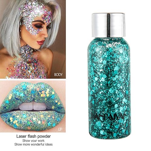 HANDAIYAN Glitter Mermaid Eyeshadow Nail Hair Body Face Art Flash Loose Sequins Cream Festival Glitter Decoration Party TSLM1