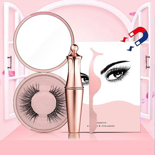 Magnetic Eyelashes 3D False Mink Eyelashes Magnet Lashes Magnetic Liquid Eyeliner Magnetic False Eyelashes Tweezer