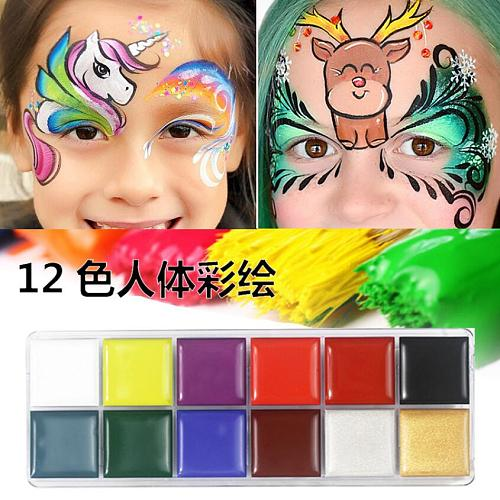 12 Colors Non Toxic Face Body Art Painting Body Safe Water Paint Oil Tattoo Makeup Cosmetic Bodypainting Halloween Party