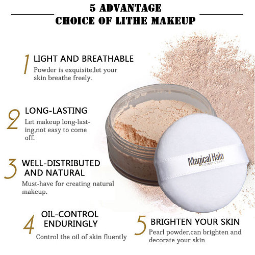 New Magical Halo Long Lasting Loose Powder Waterproof Matte Setting Powder with Puff SCI88
