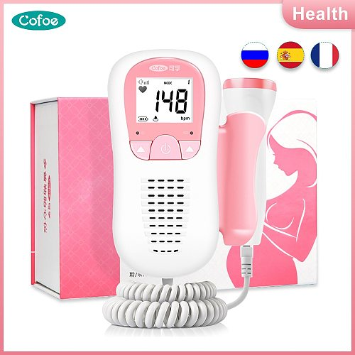 Cofoe Doppler Fetal Heart Rate Monitor Home Pregnancy baby Monitor Fetal Sound Ultrasound Detector LCD Display for Health Care