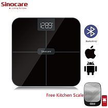 Sinocare LED Smart Body Weight Scale Bluetooth Digital Health Weighing Scale Android IOS APP + Free LED Kitchen Scale For Gift