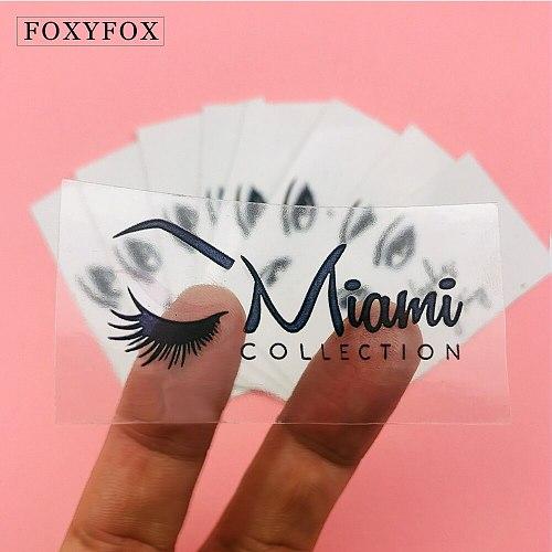 FOXYFOX 100pcs Eyelashes logo stickers Clear Wedding Labels brand Mink Lashes Paper Lipgloss Tubes Logo Sticker