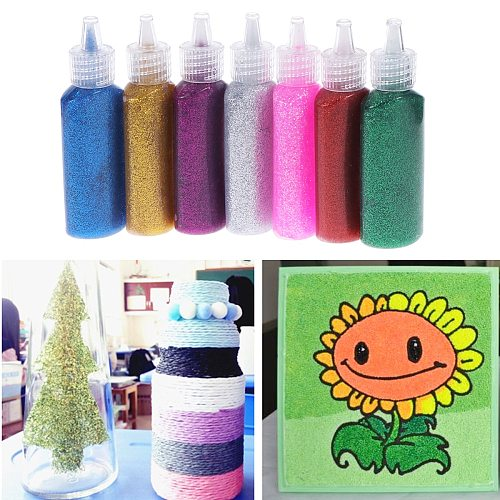 7 Bottles Gliter Glues Children Painting Tools For DIY Wooden Crafts Paper Cutting Artificial Flowers DIY Card Gliter Glue