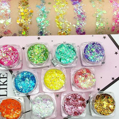 19Colors Eyeshadow Glitter Skin Highlighter Face Shiny Flakes Mermaid Sparkly Holographic Sequins Diamond Shimmer Decorations