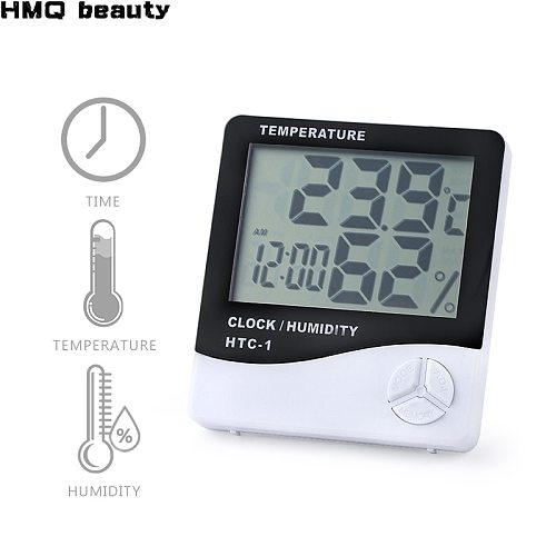 Eyelash LCD Digital Temperature Humidity Meter With Clock HTC-1 Grafted Eyelashes Extension Tool Hygrometer Weather Station