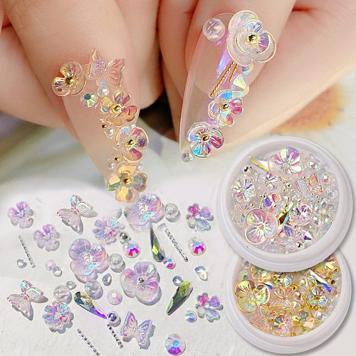 Colorful AB Crystal Flower Butterfly Nail Art Decorations Mix Metal Rivets Pearls Holographic DIY Nails Rhinestones Accessories