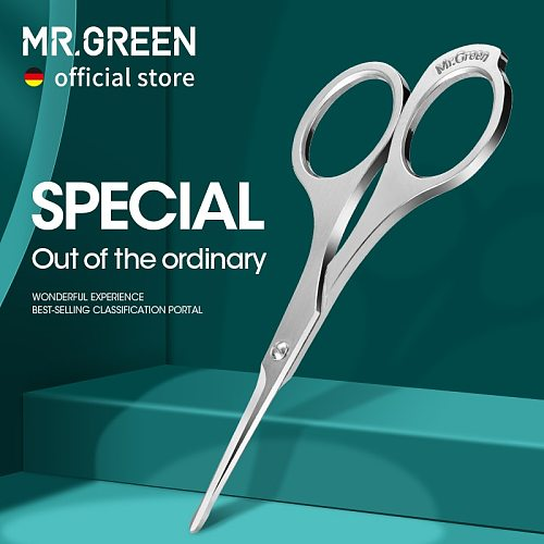MR.GREEN Nose Hair Scissor Makeup Scissors Surgical Grade Stainless Steel Face fine Hair Removal Tools  With Rounded tips