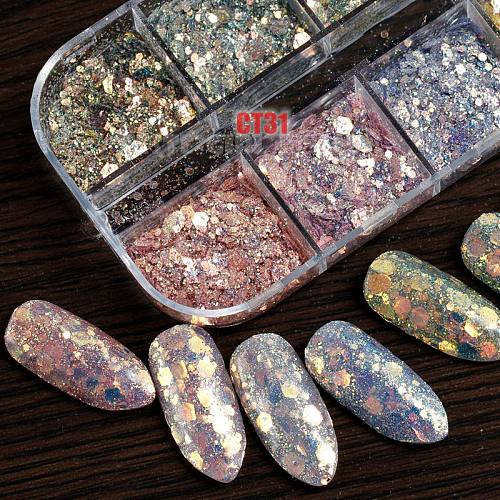 12 Grids/Set Combined Glitter Holographic Hexagon Sequins Sugar Marble Powder Mylar Foil Shell Nail Art Decoration DIY CT#