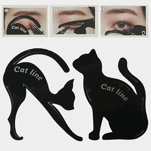 Beauty Eyebrow mold Stencils 2Pcs/Lot Women Cat Line Pro Eye Makeup Tool Eyeliner Stencils Template Shaper Model for women