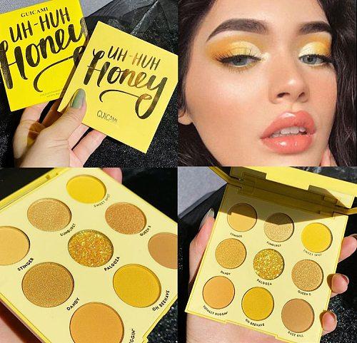 GUICAMI Yellow Glitter Neon Eyeshadow Makeup Pallete Shimmer Shiny Pigmented Eye Shadow Palette Metallic Diamond Make Up Palette
