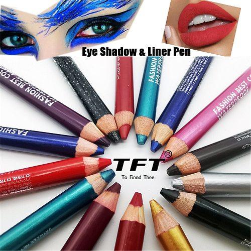 1Pc Eyeliner Pen Highlighter Matte Waterproof Glitter Cosmetics Eyeshadow Pen Cosmetic Eye Shadow Pencil Makeup with Sharpener