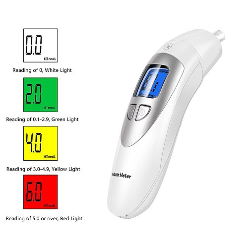 EEK-Brand Analyzer Professional Grade Accuracy Digital Ketone Breath Meter Tracing Ketosis Status with 10 Mouthpieces(White)