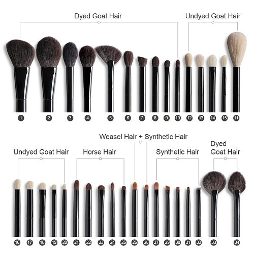 OVW Professional Natural Goat Hair Face Cosmetic Kit Eye Makeup Brushes Set Black Wood Handle pinceaux maquillage poils naturel