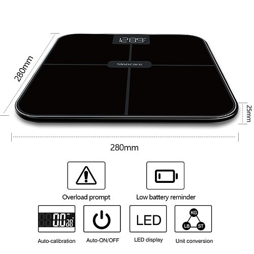 Sinocare Bluetooth Body Fat Scale,0.1Smart Body Fat Electronic Scale ,0.1kg accuracy with 3 stone / kg / lb,Square ,LED Display