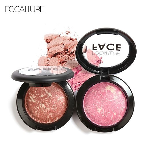 FOCALLURE 6 colors face blush natural cheek long lasting easy to wear professional baked blush mineral  base blusher palette