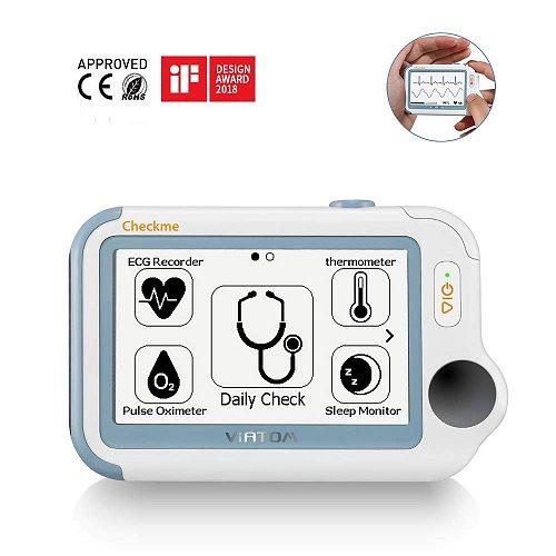 Checkme Pro Sleep Apnea Portable ECG Monitor, Home Use Vital Signs Monitor Cleared - EKG Holter Monitoring, Heart Rate