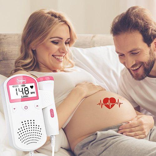 Fetal Doppler 2.5M Ultrasound Baby Heartbeat Detector Baby Heart Rate Monitor Portable Doppler monitor Home Pregnant Doppler