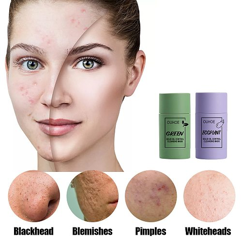 Cleansing Green Stick Green Tea Stick Mask Purifying Clay Stick Mask Oil Control Anti-acne Eggplant Skin Care Whitening Solid