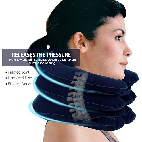 Neck Stretcher Cervical Inflatable Traction 3 Layer Collar Device Spine Stretch Osteochondrosis Pain Relief Medical Devices