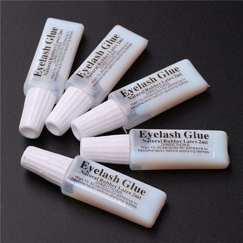 10pcs/Lot 2ML Natural Rubber Latex Eyelash Glue Waterproof White Eye Lash Glue False Eyelash Accessories
