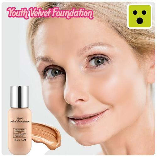 LULAA Age Back Foundation Base Makeup Age Rewind Matte Liquid Foundation Full Coverage Concealer Waterproof Matte Foundation