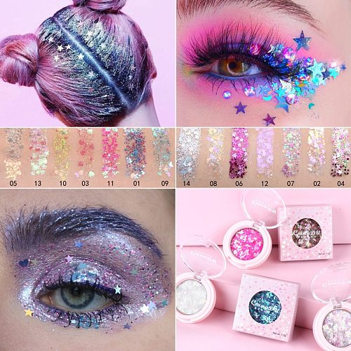 14 Color Glitter Shimmer Face Jewels Pigment Body Face Eye Glitter Sequin Gel Cream Eye Shiny Skinface Sequin Body Glitter