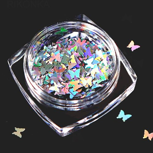1 Box Holographic Nail Glitter Butterfly Shape 3D Flakes Sparkly Colorful Sequins Spangles Polish Manicure Nails Art Decoration