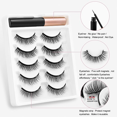 2/5 Pairs 3D Magnetic Eyelashes Natural Curler False Lashes Magnetic Eyeliner Set Mink Fake Lashes Makeup Extension maquiagem