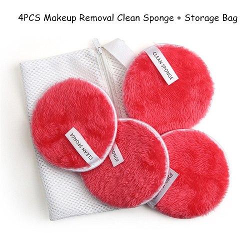 Clean Sponge Water Makeup Puff with bag Face Cleansing Towel Reusable Remover Microfiber Cleansing Sponge Pad Clean Makeup Tool