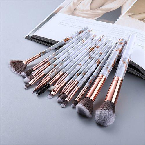 FLD10/15Pcs Marble Kabuki Makeup Brushes Set Cosmetic Eye Shadow Foundation Blush Blending Beauty Make Up Brush Tools Maquiagem